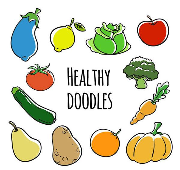 卡通蔬菜水果矢量素材下载