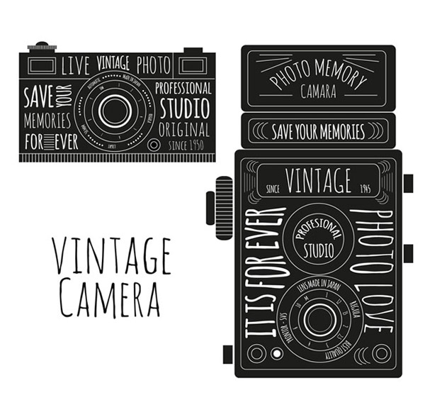 复古手绘照相机矢量素材下载