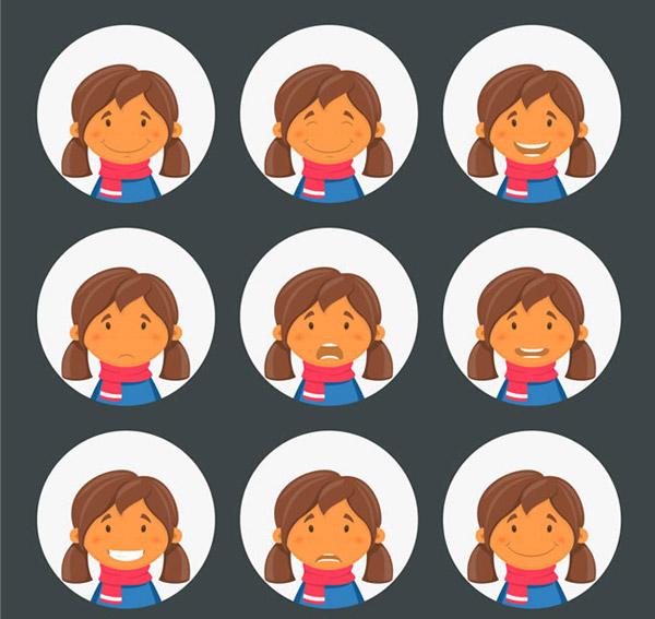 可爱女孩头像矢量素材下载,笑,哭泣,难过,快乐,人物,圆形,女孩,头像