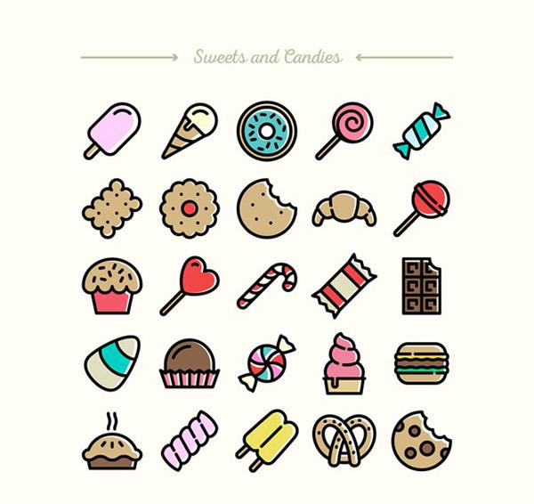 所有甜食的简笔画