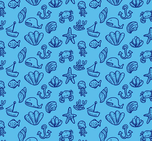 天蓝色无缝欧式墙布材质贴图