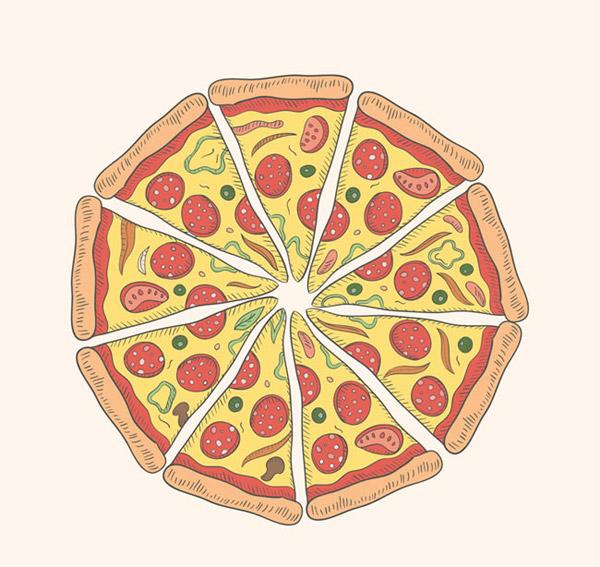 香肠披萨俯视图