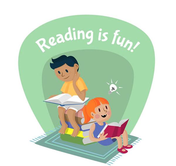 读书的男孩和女孩