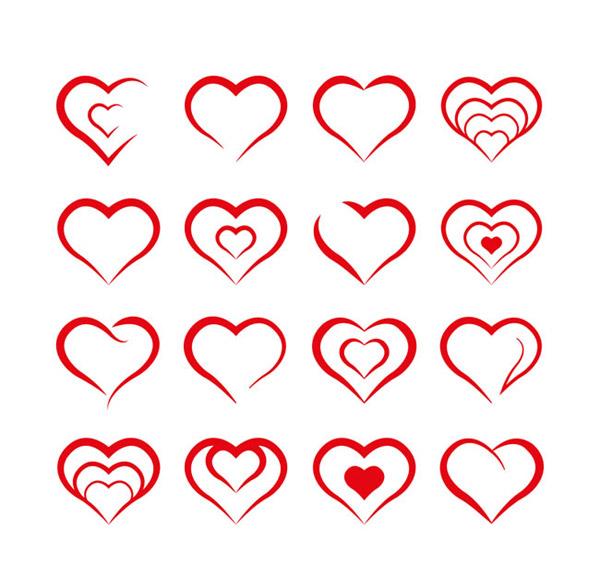 爱心图标矢量