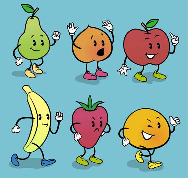 梨,桃子,苹果,香蕉,草莓,橘子,水果,食物,表情,矢量图,ai格式 下载