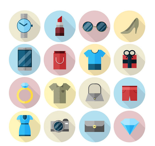 购物袋,衣服,礼盒,戒指,包,裤子,裙子,钻石,照相机,钱包,时尚,图标