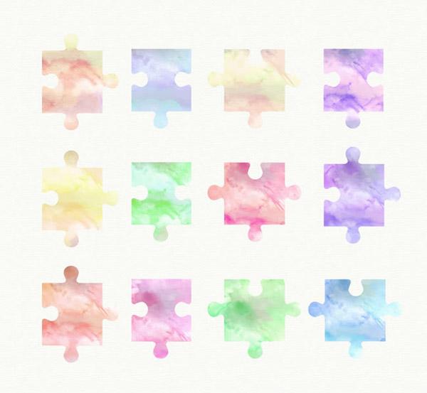 水彩拼图块矢量