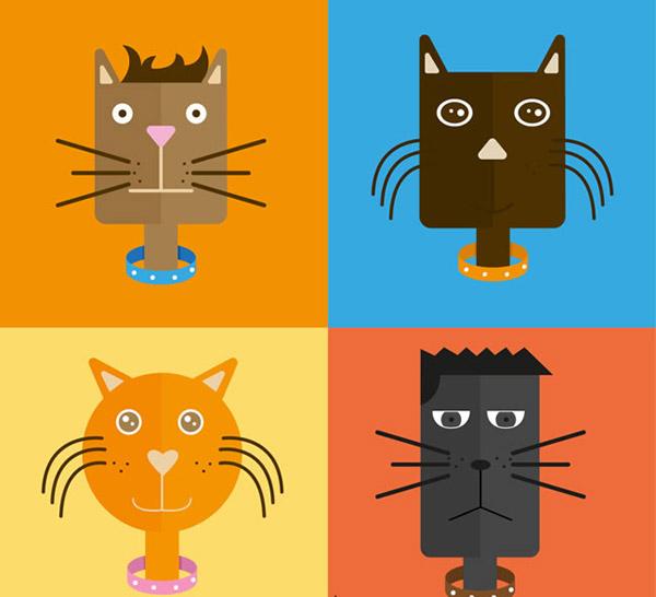 矢量卡通动物所需点数: 0 点 关键词: 创意猫咪头像矢量素材下载