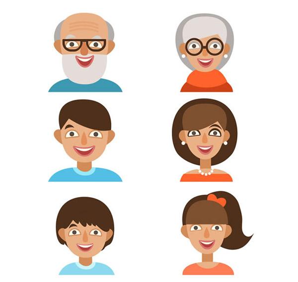 卡通家庭成员头像_素材中国sccnn.com