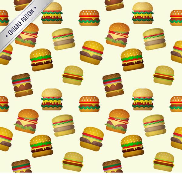 卡通汉堡包无缝背景矢量素材下载