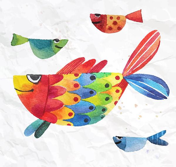 水彩鱼设计矢量