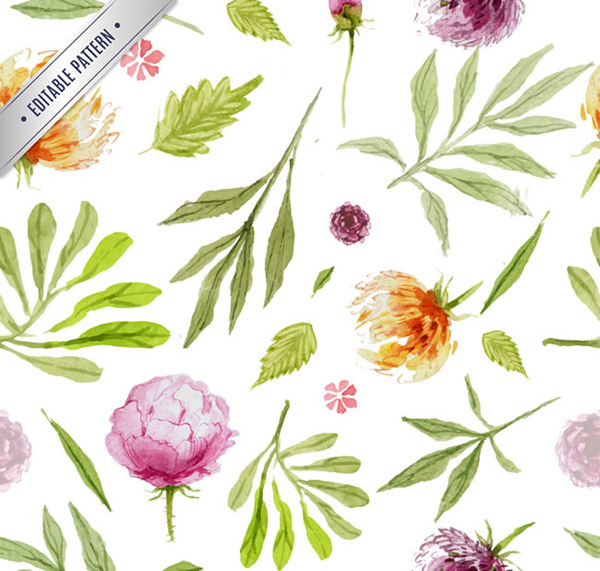 关键词: 水彩叶子和花朵无缝背景矢量素材下载,树叶,叶子,水彩,花朵图片