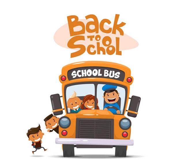 卡通上校车的孩子矢量素材下载,学生,开学,人物,男孩,女孩,司机,校车图片