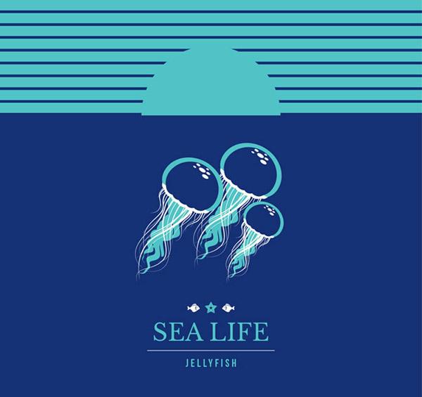 彩绘海底水母