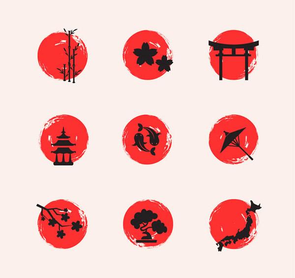 圆形日本元素图标矢量素材下载