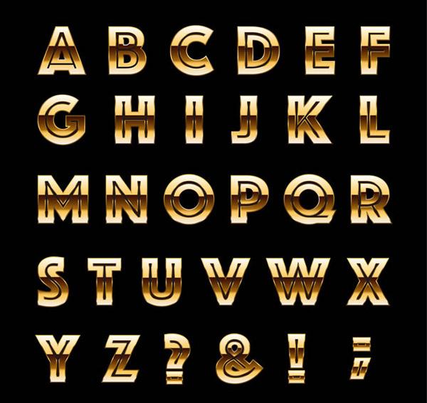 金属字母和符号矢量素材下载
