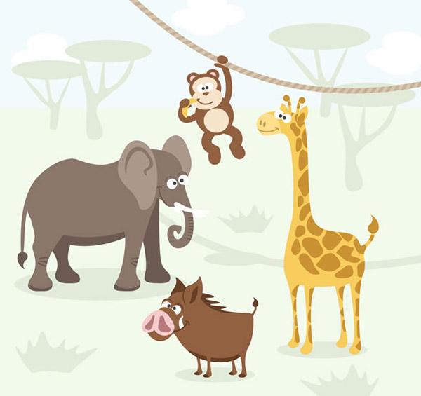 热带动物矢量图