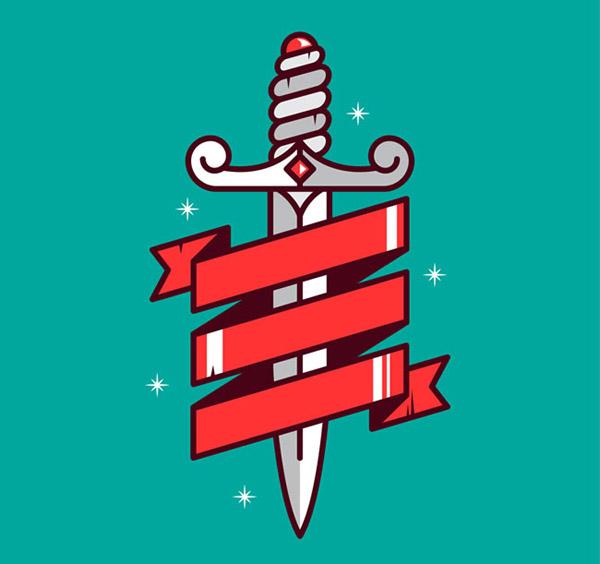 矢量卡通其它所需点数: 0 点 关键词: 红色丝带缠绕的宝剑矢量素材