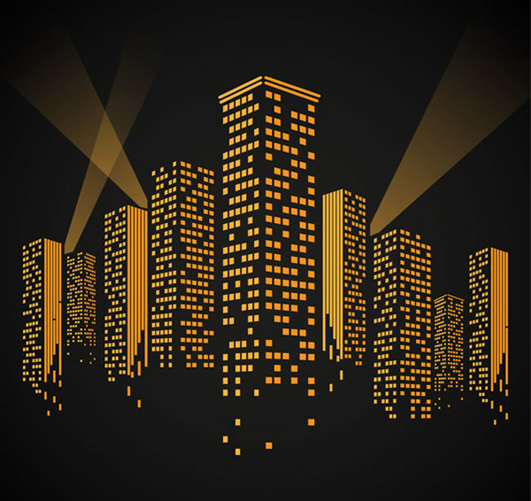 矢量建筑景观所需点数: 0 点 关键词: 时尚夜晚橙色楼群设计矢量素材