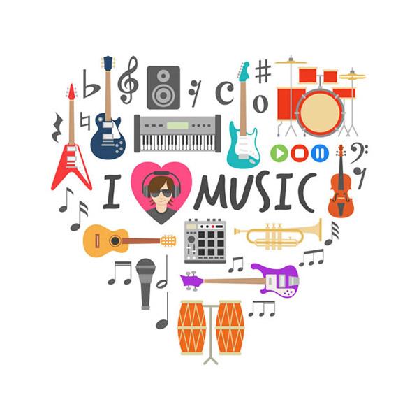 音乐元素组合爱心