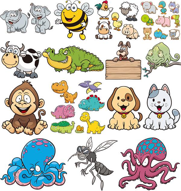 卡通动物,卡通漫画,卡通插画,章鱼,猴子,小狗,蜜蜂,大象,可爱,变色龙