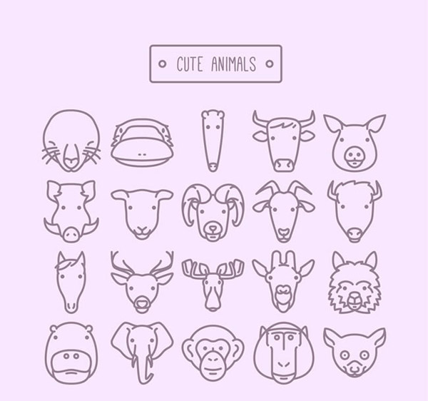 可爱动物头像矢量素材下载,海豹,河马,鸭嘴兽,马,牛,猪,野猪,羊,驯鹿