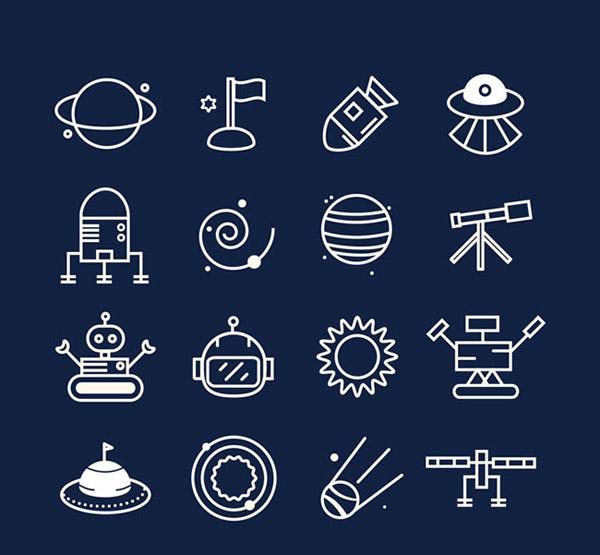 星体,卫星,火箭,星球,望远镜,机器人,流星,宇宙,太空探索,图标,矢量图