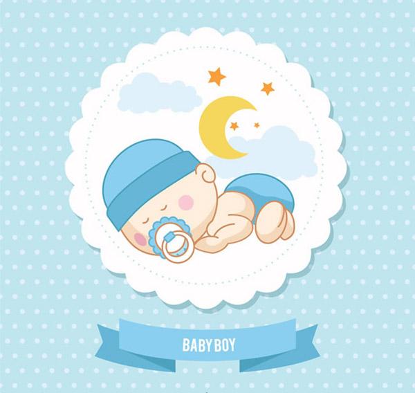 0 点 关键词: 可爱婴儿标签贺卡矢量素材下载,水玉点,月亮,云朵,婴儿