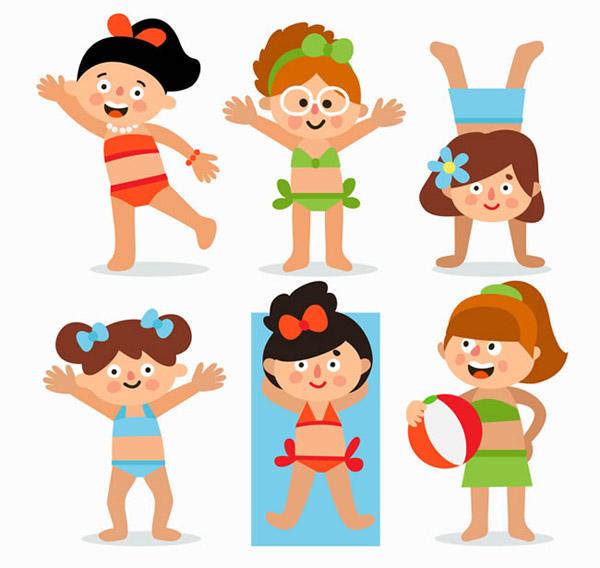 可爱夏季沙滩女孩矢量素材下载,比基尼,泳衣,女孩,孩子,儿童,人物图片