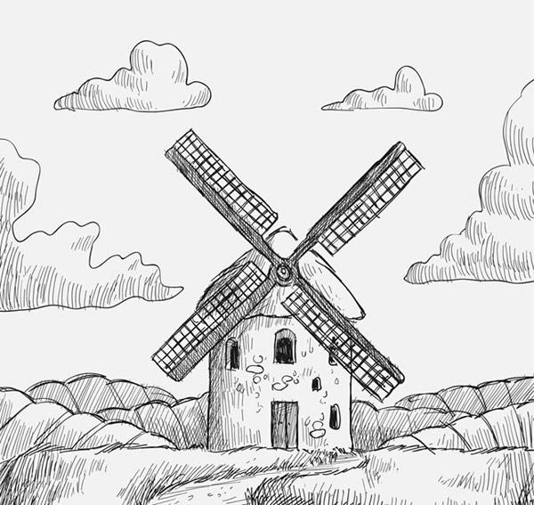 手绘风车磨坊