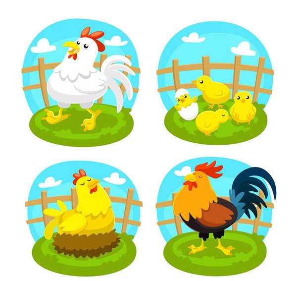 0 点 关键词: 可爱农场鸡矢量素材下载,栅栏,云朵,农场,鸡,公鸡,母鸡