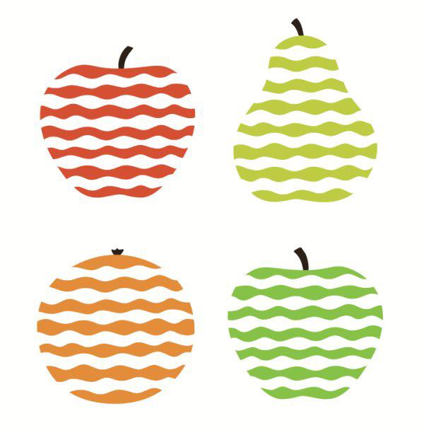 素材分类: 矢量图案所需点数: 0 点 关键词: 波纹水果矢量图案,彩条