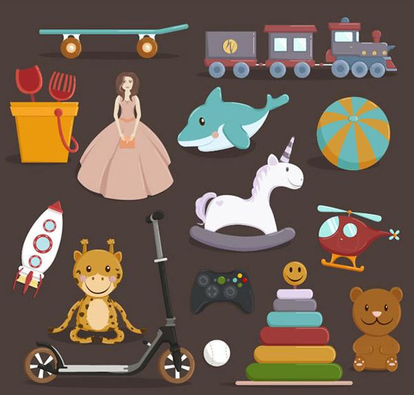 皮球,海豚,棒球,独角兽,皮球,火车,直升机,长颈鹿,火箭,滑板车,积木