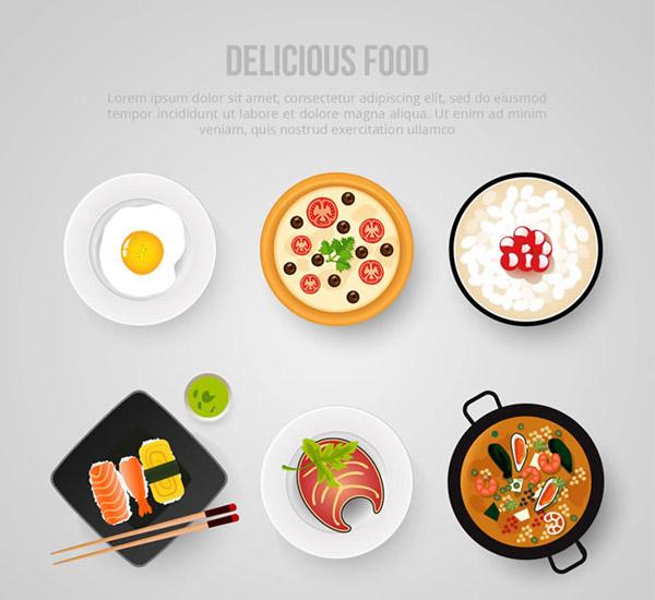 美味食物俯视图