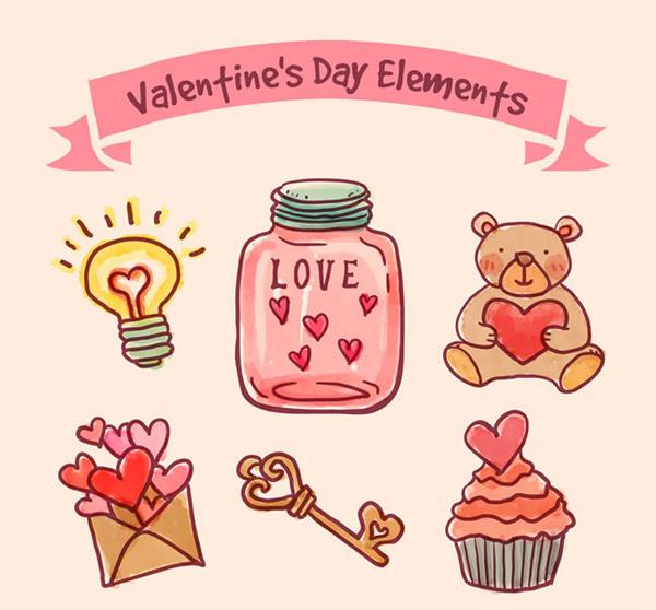 彩绘情人节元素矢量素材下载,玩偶,情人节,灯泡,丝带,爱心,瓶子,泰迪