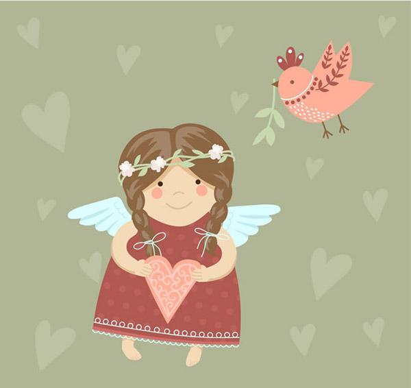 素材分类: 矢量儿童幼儿所需点数: 0 点 关键词: 可爱天使女孩和小鸟