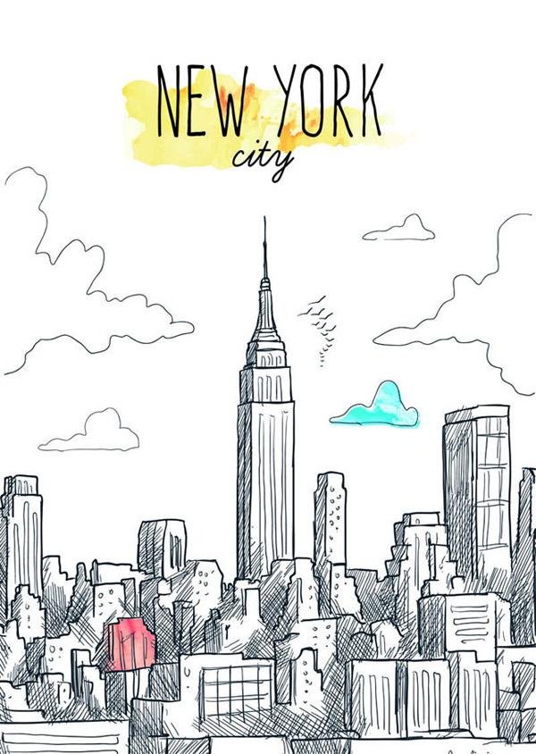 矢量建筑景观所需点数: 0 点 关键词: 手绘纽约城市建筑群矢量素材