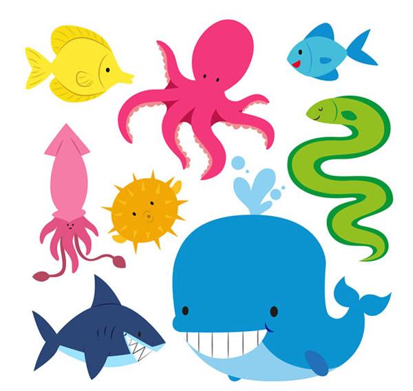 鱼,章鱼,鲸鱼,鱿鱼,河豚,鲨鱼,海鳗,海洋生物,动物,矢量图,ai格式