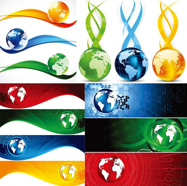 地球与炫彩线条