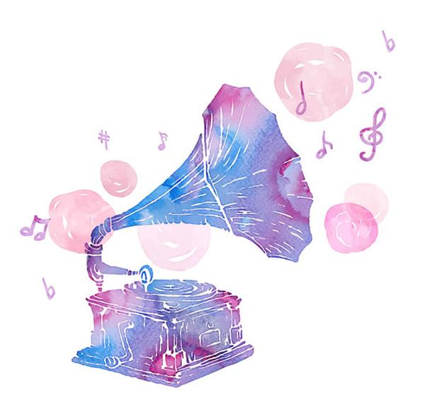 水彩绘留声机