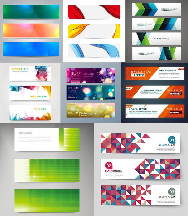 关键词: 彩色条幅矢量素材,时尚彩色横幅,banners,横幅背景,海报模板