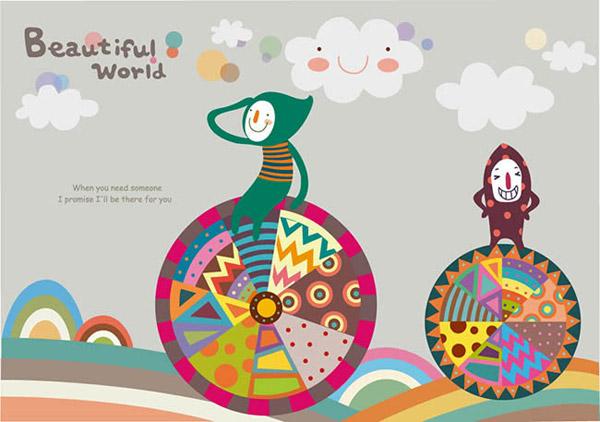 轮子,风景韩式插画,贴图插画设计,儿童插画,手绘韩式日记简单插画