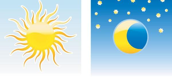 卡通星星月亮和太阳矢量素材下载