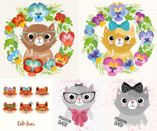 可爱,卡通,动漫,动物,猫咪,蝴蝶结,小猫,花朵,鲜花,花卉,边框,狐狸,花