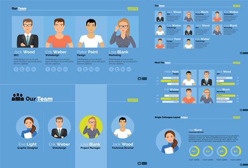 素材分类: 平面广告所需点数: 0 点 关键词: 团队成员介绍页面等设计图片