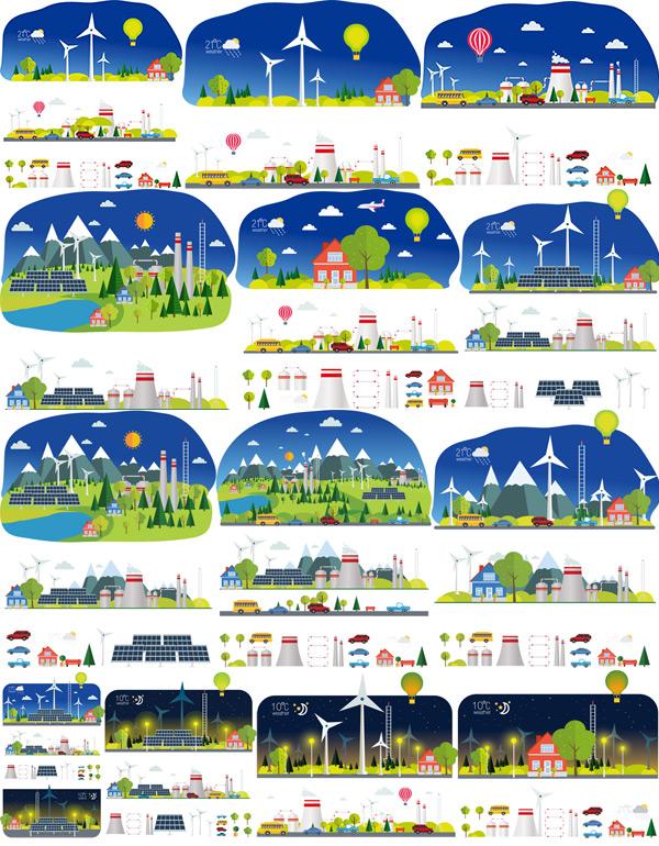 0 点 关键词: 扁平化风景工业设计矢量素材,卡通山脉,扁平化,横幅海报