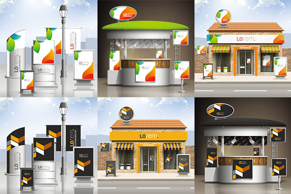 点 关键词: 店面广告牌装修设计矢量素材,岗亭,广告牌,装修,装饰,门市