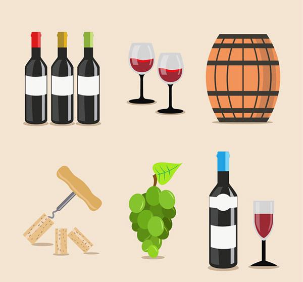 葡萄酒,红酒,酒杯,酒桶,葡萄,饮品,红酒开瓶器,矢量图,ai格式 下载