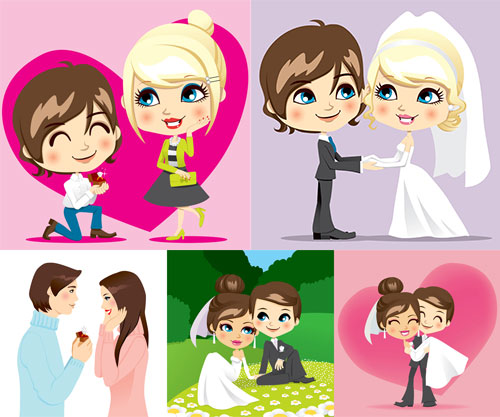 新郎与求婚的男女矢量素材免费下载,矢量素材,矢量图,设计素材,可爱