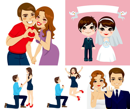 卡通风格幸福情侣人物创意矢量素材